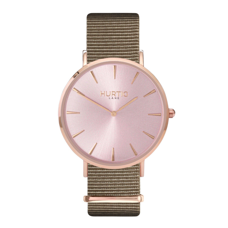 vegan nylon watch. nato watch rose gold and beige