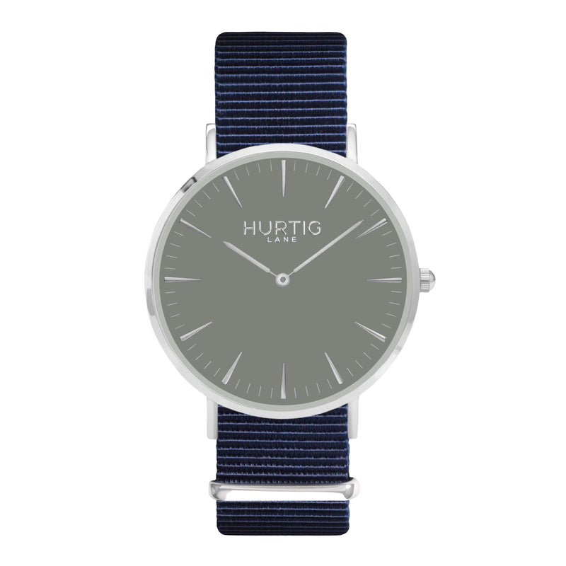 men's vegan nylon nato watch silver, white and blue