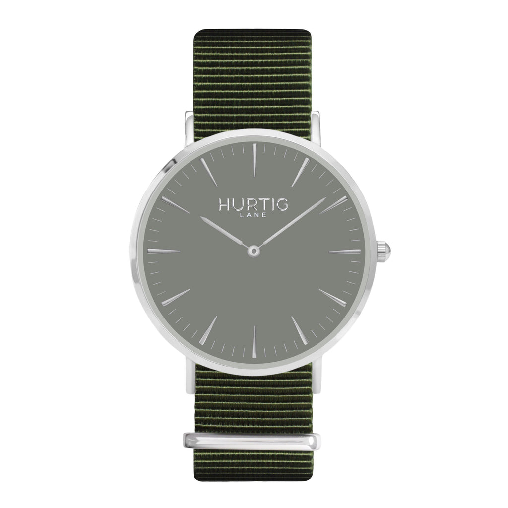 men's vegan nylon nato watch silver, white and green