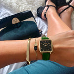 vegane uhr. women's vegan square watch gold, black green