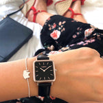square vegan leather watch. rose gold and black