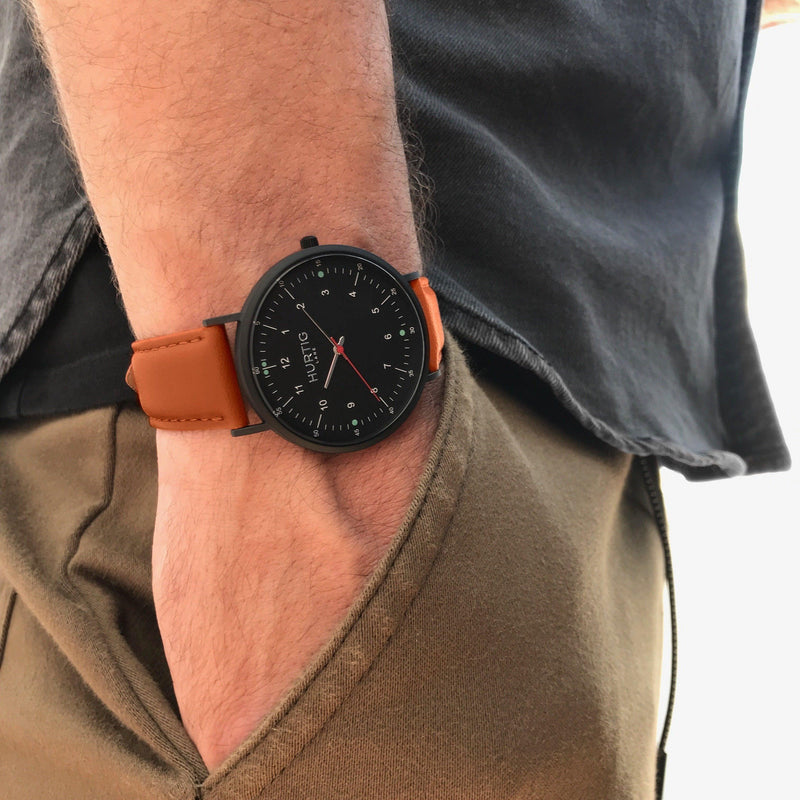 Men's vegan watch all black and brown