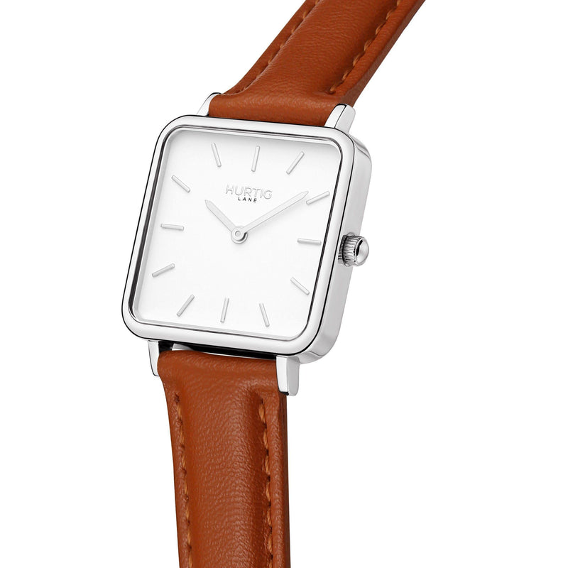 Silver and tan vegan square watch