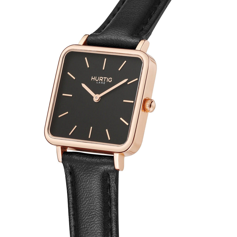 Neliö Square Vegan Leather Rose Gold/Black/Black Watch Hurtig Lane Vegan Watches