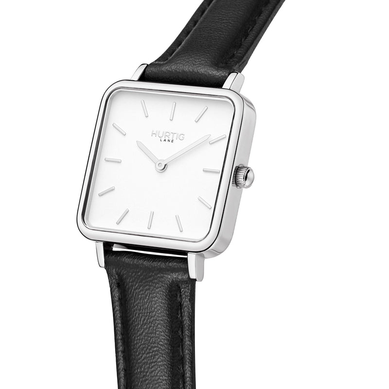 Neliö Square Vegan Leather Silver/White/Black Watch Hurtig Lane Vegan Watches