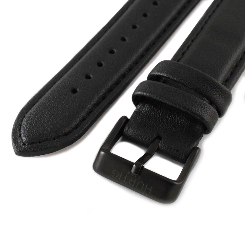 Black and Black Vegan Leather Strap watch strap Hurtig Lane Vegan Watches