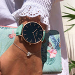 vegan leather watch rose gold, black and mint