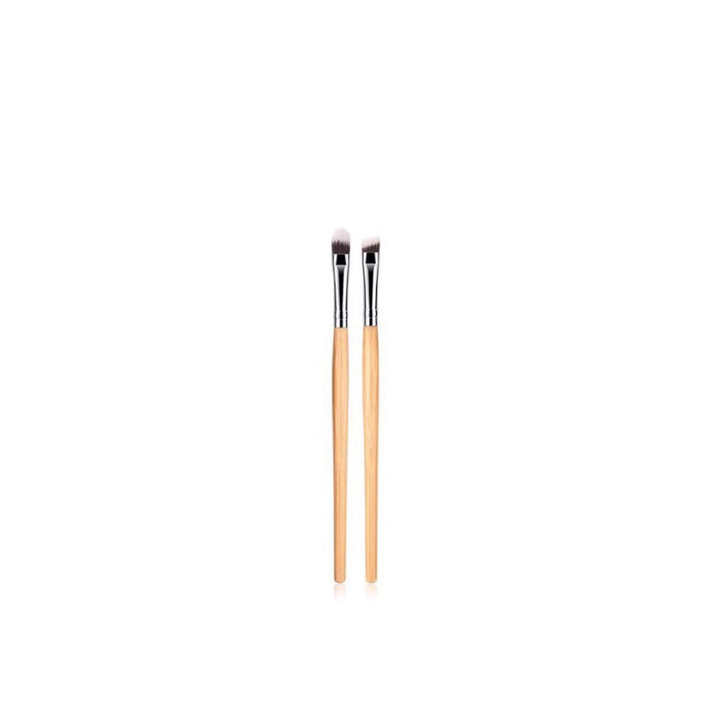 Vegan 2 Piece Eye & Brow Makeup Brush Set- Bamboo and Silver Makeup Brushes Hurtig Lane