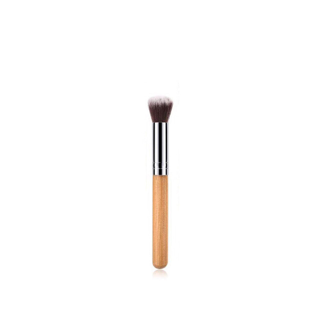 Vegan Rounded Foundation Makeup Brush- Bamboo and Silver Makeup Brushes Hurtig Lane