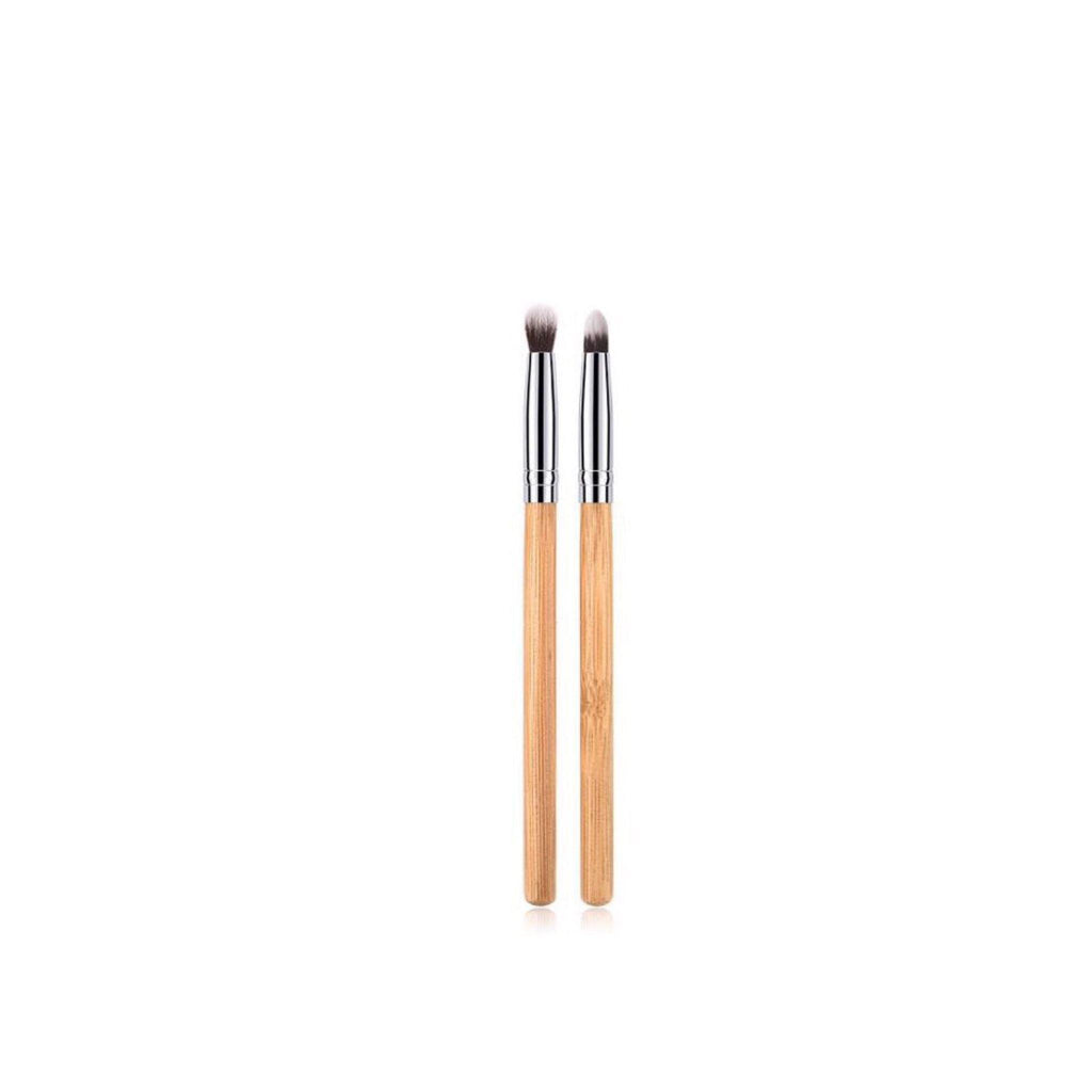 Vegan 2 Piece Eyeshadow Makeup Brush Set- Bamboo and Silver Makeup Brushes Hurtig Lane