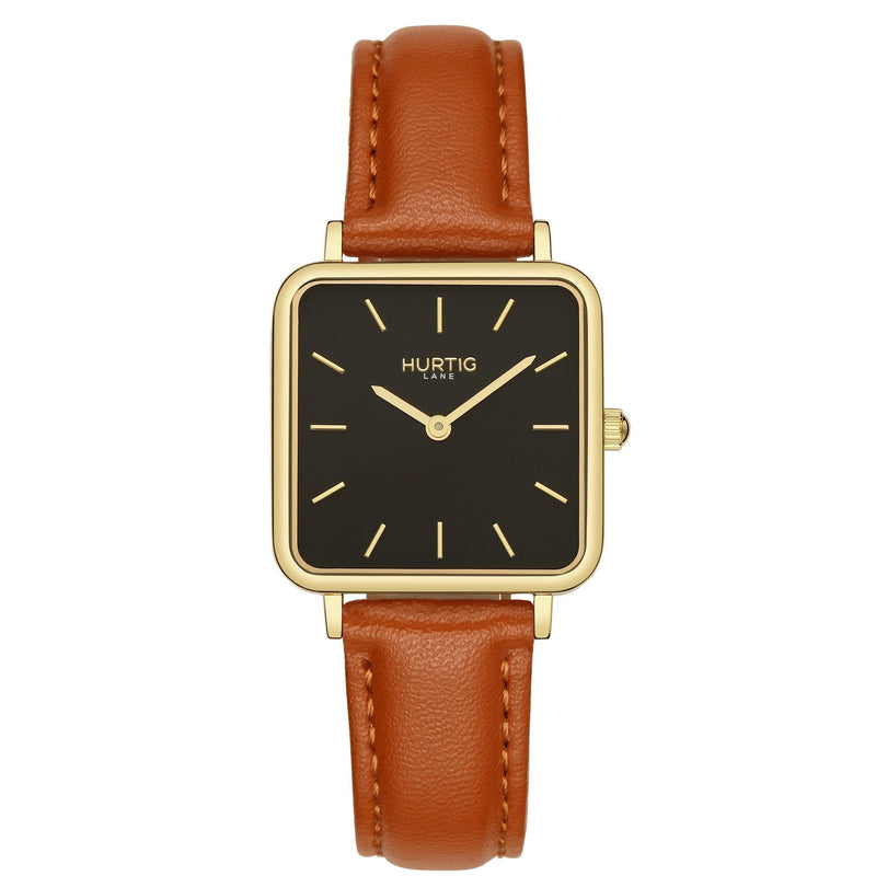 Neliö Square Vegan Leather Gold/Black/Chestnut Watch Hurtig Lane Vegan Watches