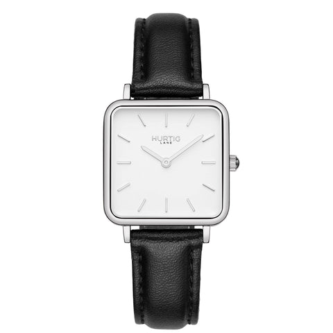 Amalfi Petite Vegan Leather Watch Silver/White/White