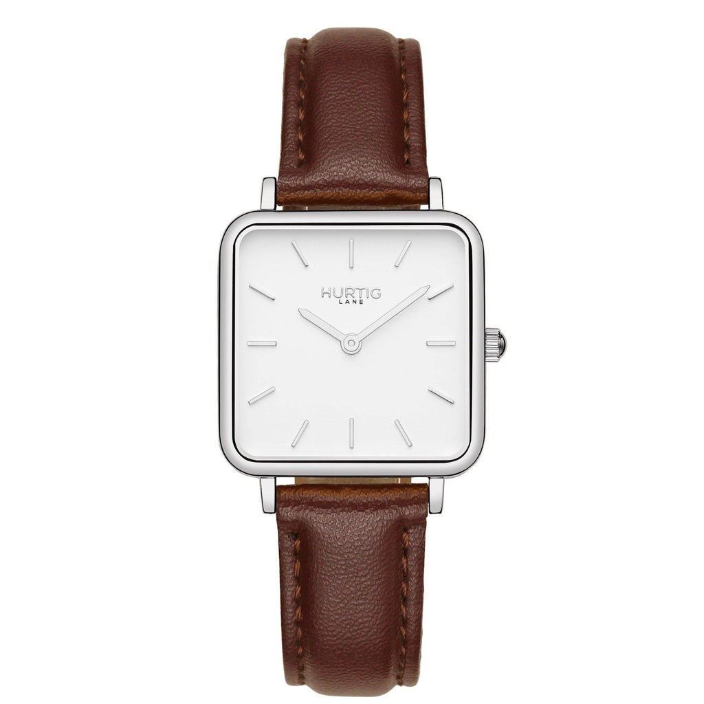 Neliö Square Vegan Leather Silver/White/Chestnut Watch Hurtig Lane Vegan Watches