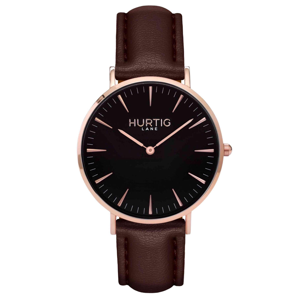 hurtig lane vegan watch rose gold and chestnut- vegane uhr