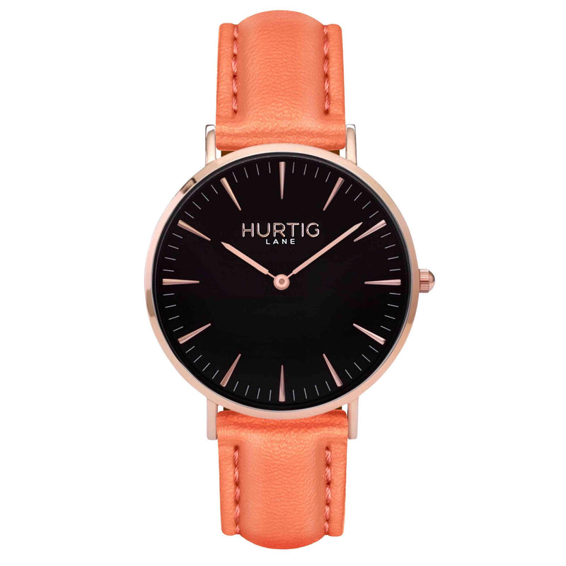Vegan leather watch Rose gold and coral