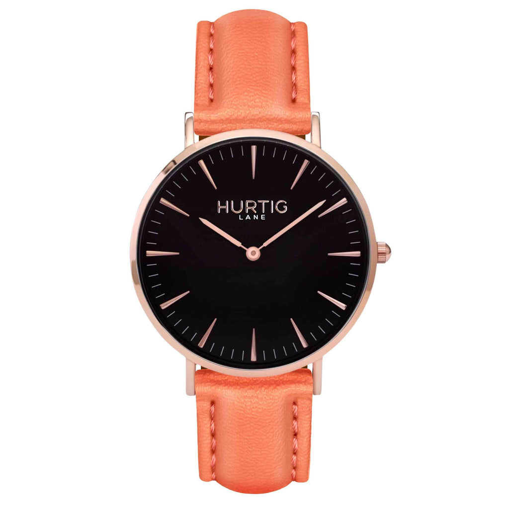 hurtig lane vegan watch rose gold and coral- vegane uhr