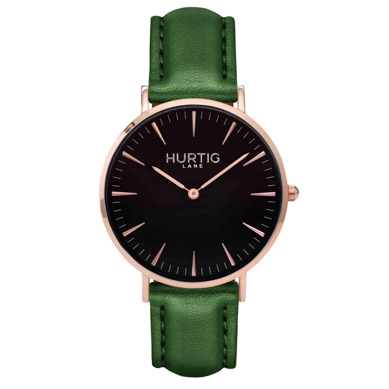 Vegan leather watch Rose gold and green