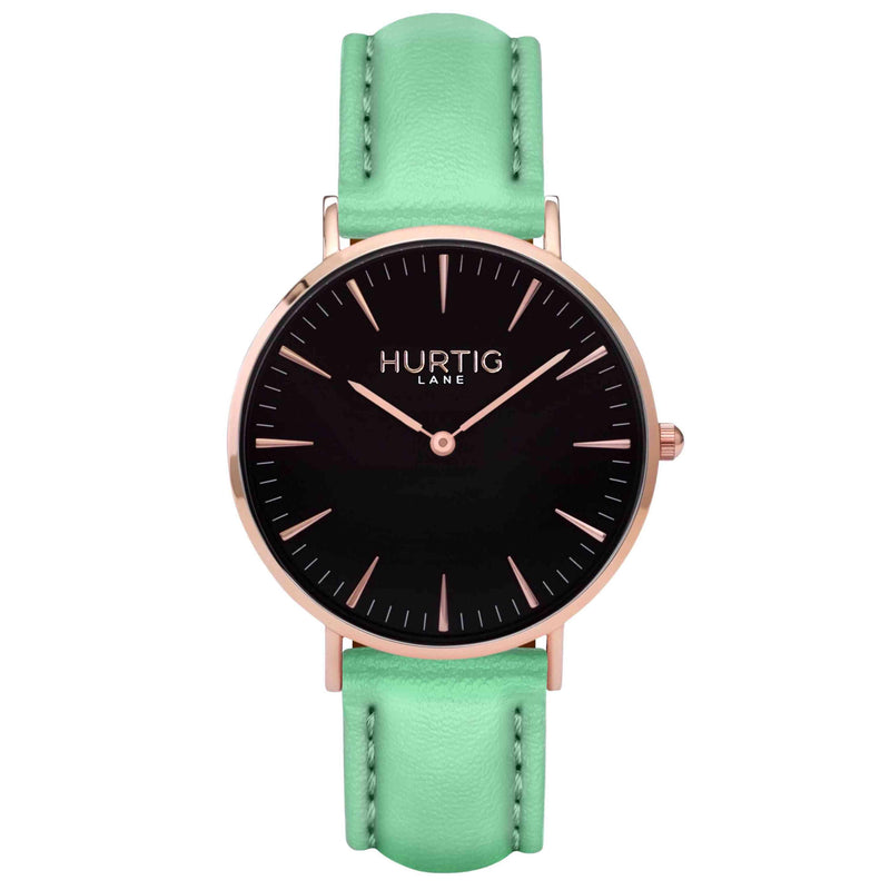 Vegan leather watch Rose gold and mint