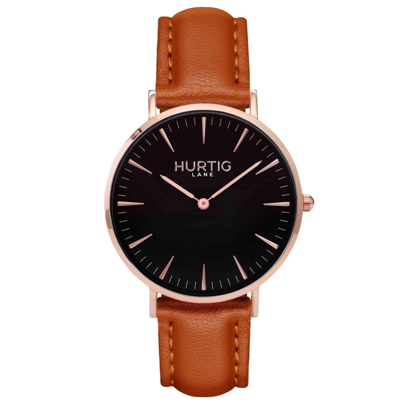 Vegan leather watch Rose gold and tan