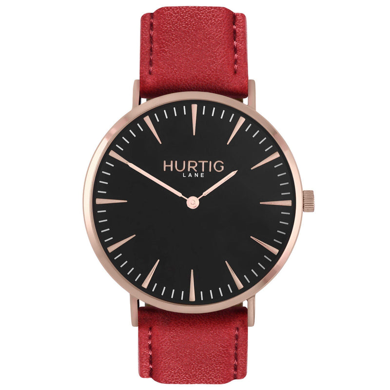 Mykonos Vegan Leather Rose Gold/Black/Black - hurtig-lane-vegan-watches