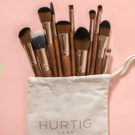 Full Vegan Makeup Brush Set- Sustainable Wood and Rose Gold Makeup Brushes Hurtig Lane