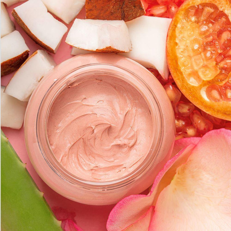 pink clay mask with pomegranate, rose and coconut