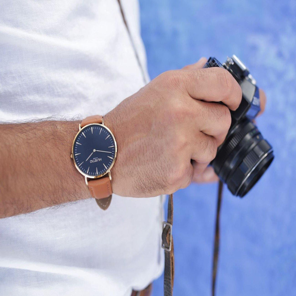 Mykonos Vegan Leather Gold/Black/Tan - hurtig-lane-vegan-watches