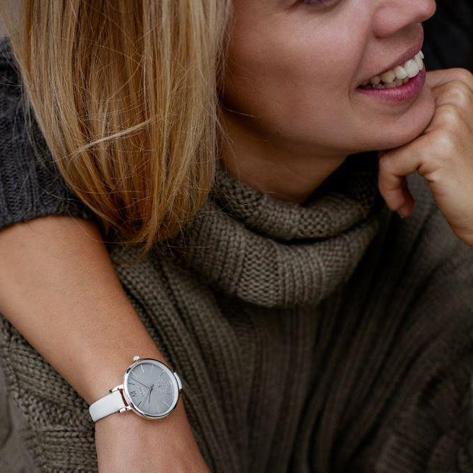 Amalfi Petite Vegan Leather Silver/Grey/White - hurtig-lane-vegan-watches