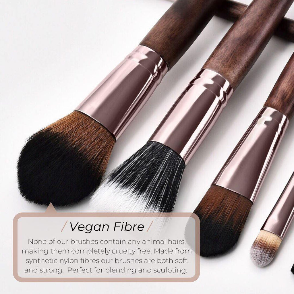 Vegan 3 Piece Eye and Brow Makeup Brush Set- Sustainable Wood and Rose Gold Makeup Brushes Hurtig Lane