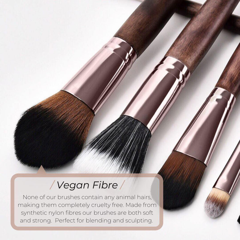 Vegan Angled Contour Makeup Brush- Sustainable Wood and Rose Gold Makeup Brushes Hurtig Lane