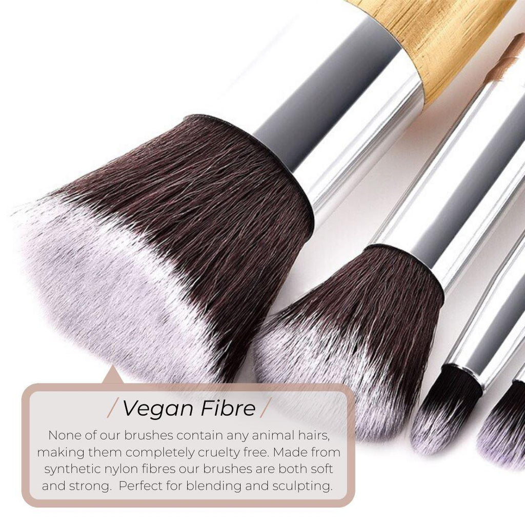 Vegan Mini 3 Piece Blush & Foundation Makeup Brush- Bamboo and Silver Makeup Brushes Hurtig Lane
