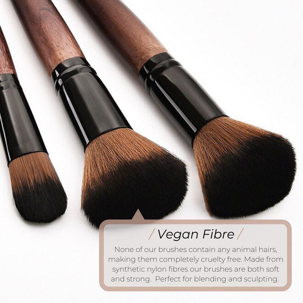 Vegan Makeup Powder/Liquid Brush- Sustainable Wood and Black Makeup Brushes Hurtig Lane