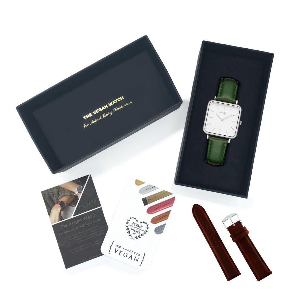 Vegan gift set Neliö Square Vegan Leather Watch Silver/White/Green and Chestnut strap Watch Hurtig Lane Vegan Watches