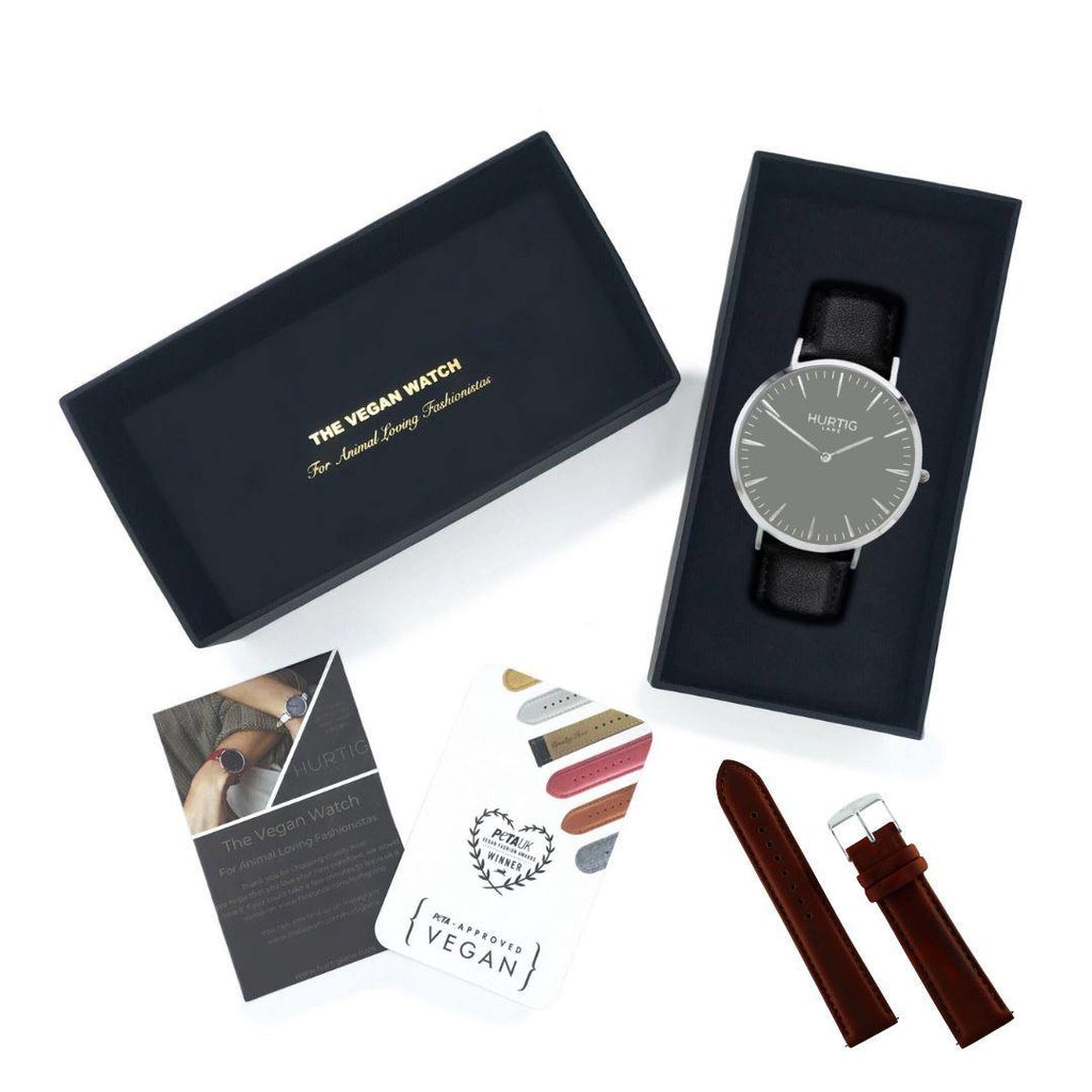 Vegan friendly watch gift box set black/grey and chestnut brown