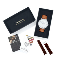 Vegan gift set Mykonos Vegan Leather Watch Silver/White/Tan and Chestnut watch strap Watch Hurtig Lane Vegan Watches