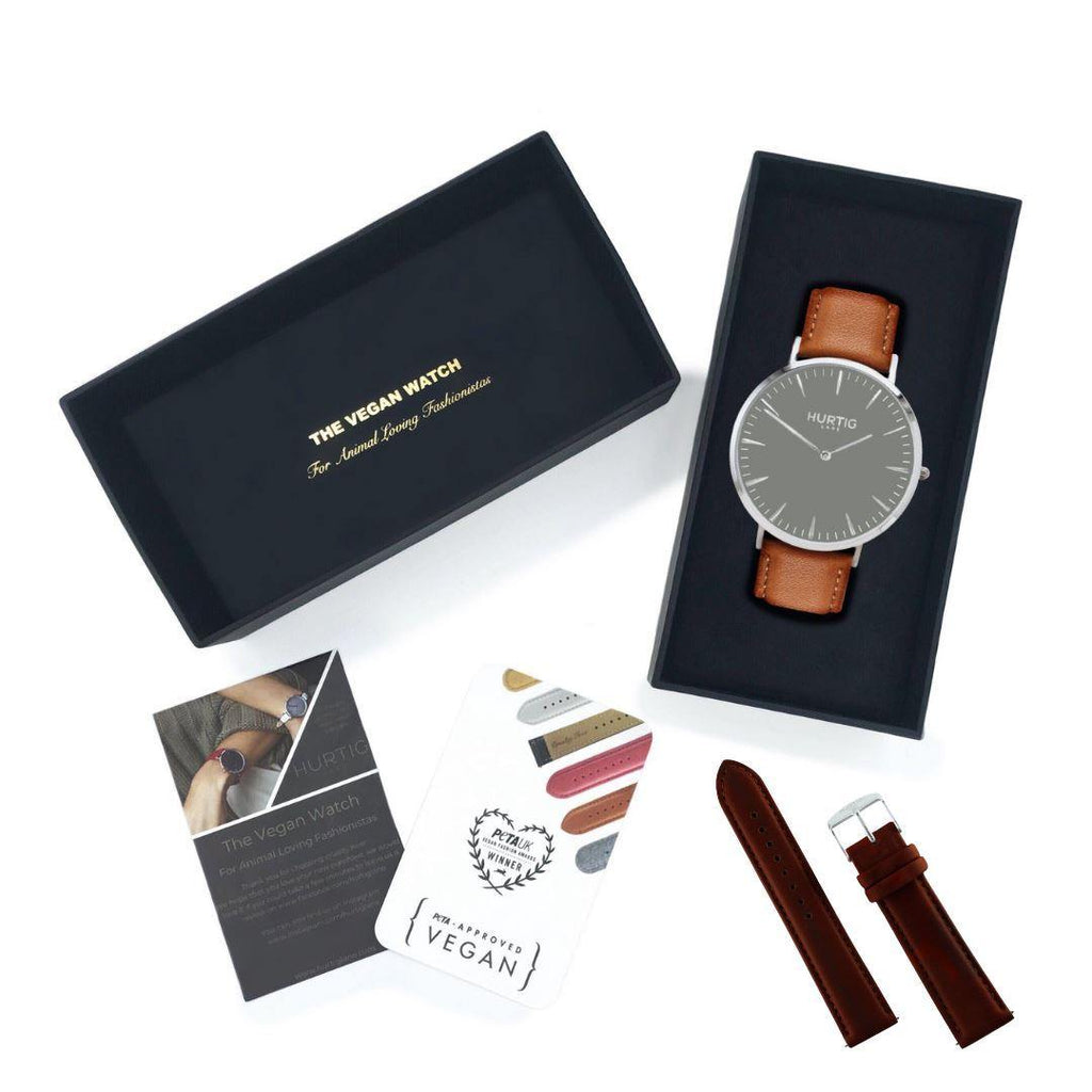 Vegan friendly gift set. Vegan watch silver/grey/tan and chestnut strap