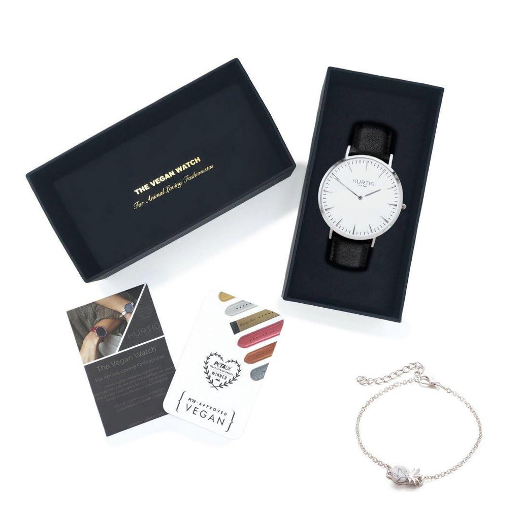 Vegan Gift Set Mykonos Vegan Leather Watch Silver/White/Black and Piña Bracelet Watch Hurtig Lane Vegan Watches