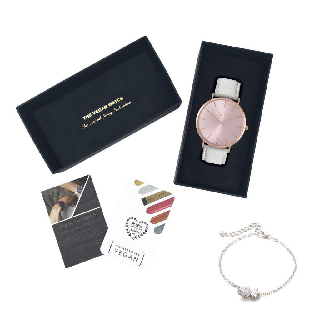 Vegan friendly gift set. All rose/grey vegan watch and silver bracelet