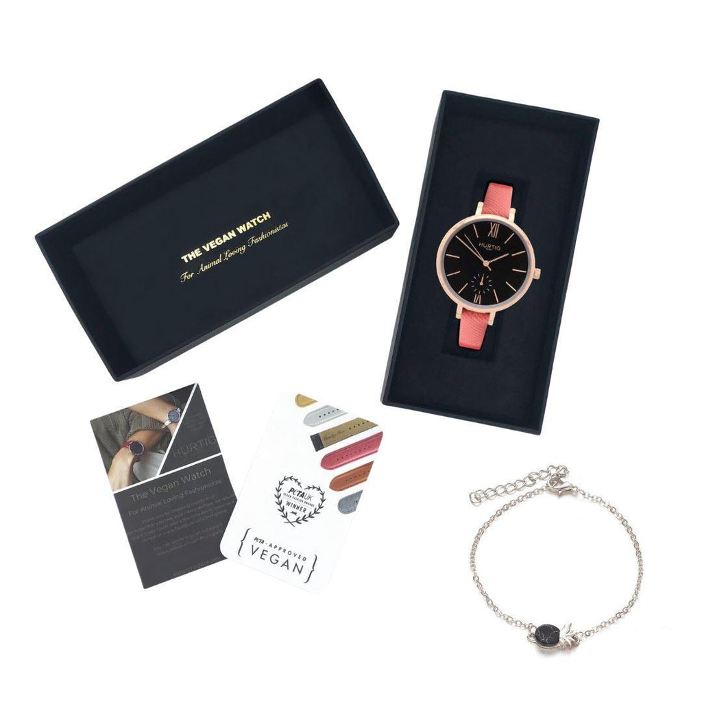 Vegan Gift Set Amalfi Petite Vegan Leather Watch Rose Gold/Black/Coral and Piña Bracelet Watch Hurtig Lane Vegan Watches