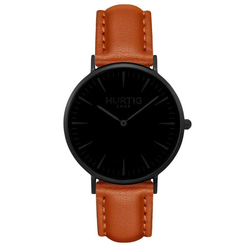 Mykonos Vegan Leather Watch All Black & Tan Watch Hurtig Lane Vegan Watches