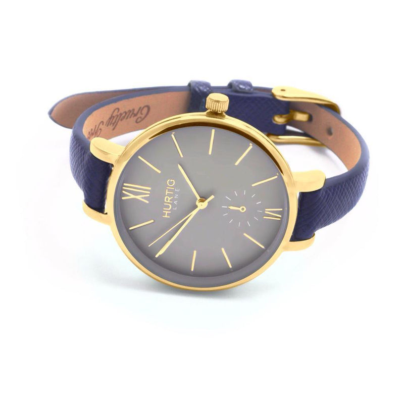 Amalfi Petite Vegan Leather Gold/Grey/Marine Blue Watch Hurtig Lane Vegan Watches