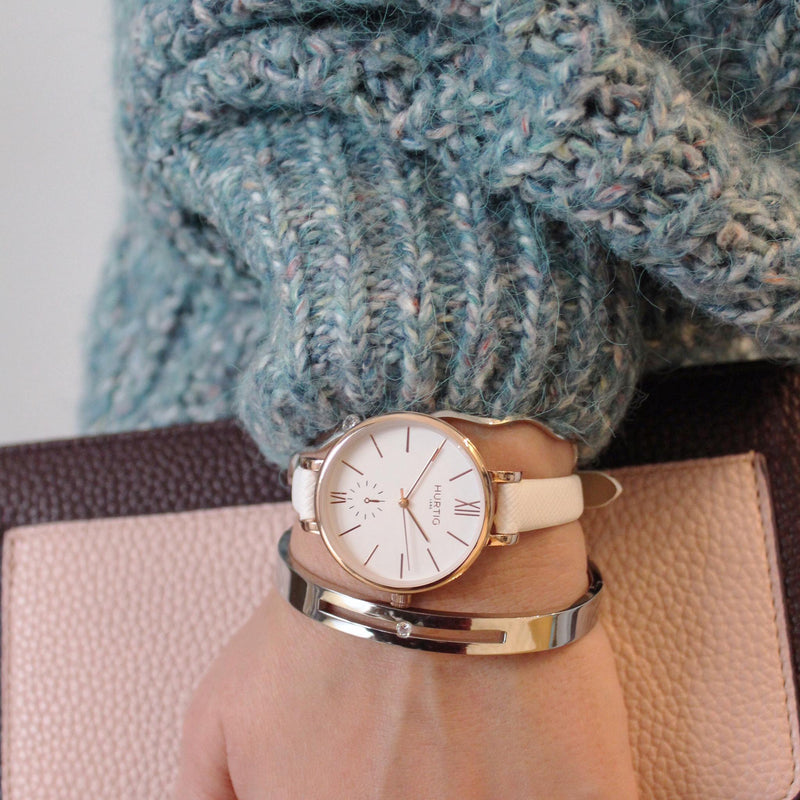 Amalfi Petite Vegan Leather Rose Gold/White/White Watch Hurtig Lane Vegan Watches