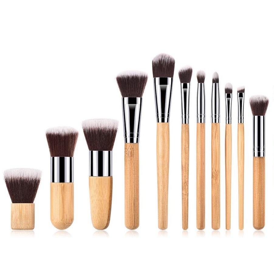 Full Vegan Makeup Brush Set- Bamboo and Silver Makeup Brushes Hurtig Lane