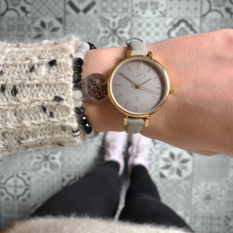 Amalfi Petite Vegan Leather Gold/Grey/Grey Watch Hurtig Lane Vegan Watches