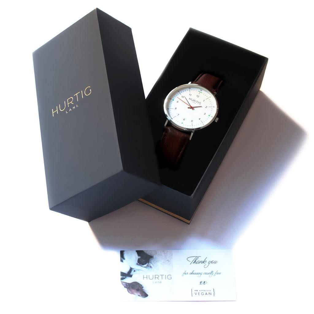Moderno Vegan Leather Silver/White/Chestnut Brown Watch Hurtig Lane Vegan Watches