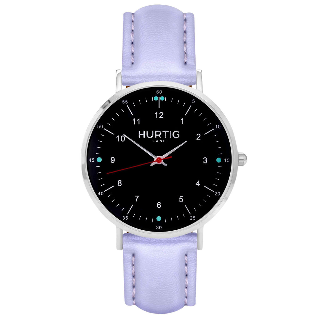 Moderna Vegan Leather Watch Silver, Black & Lilac Watch Hurtig Lane Vegan Watches