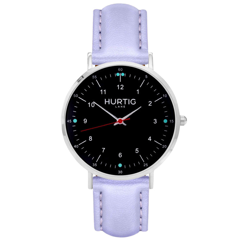 Moderna Vegan Leather Watch Silver, Black & Black Watch Hurtig Lane Vegan Watches