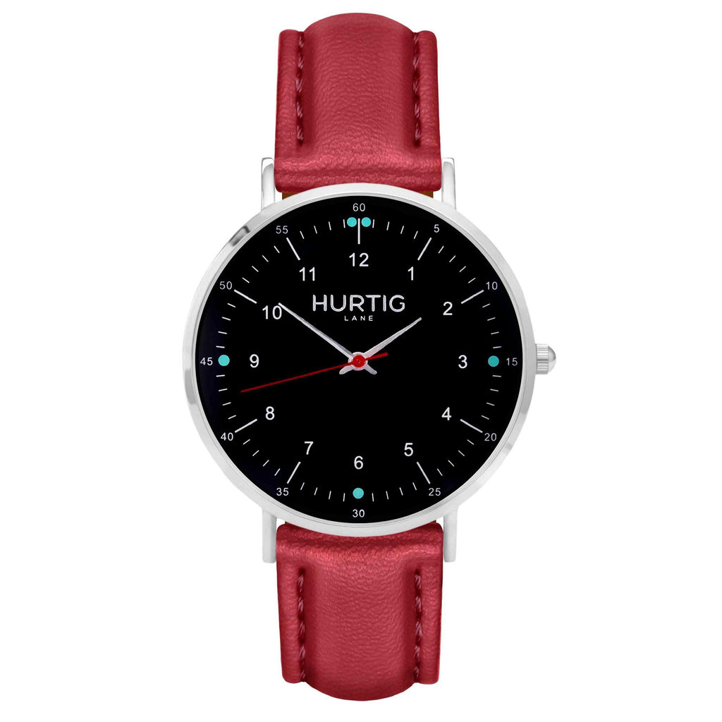 hurtig lane vegan leather watch silver,  black & red vegane uhren