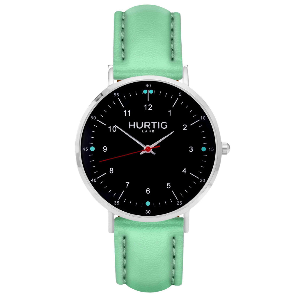 hurtig lane vegan leather watch silver,  black & mint vegane uhren