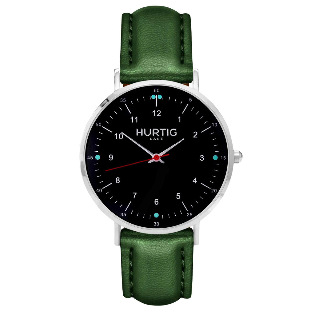 hurtig lane vegan leather watch silver,  black & green vegane uhren